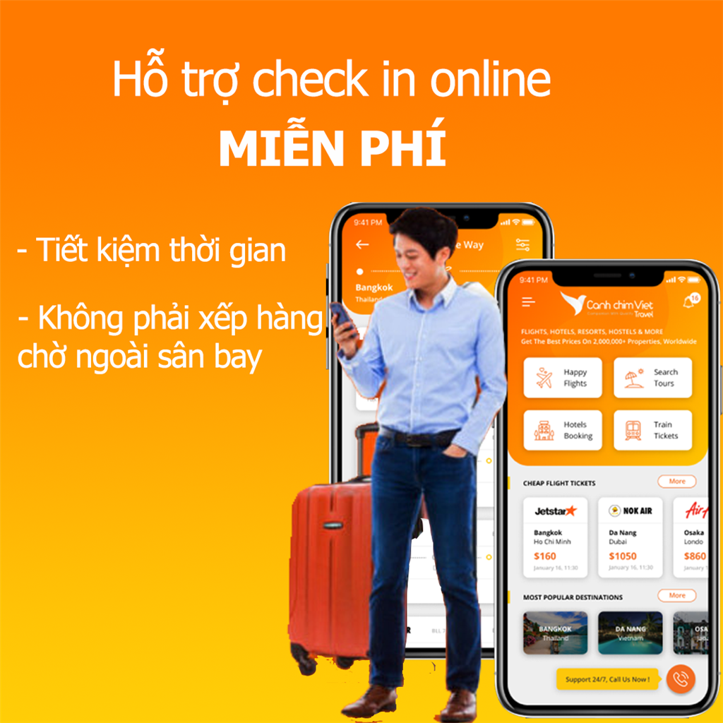 hỗ trợ check in online